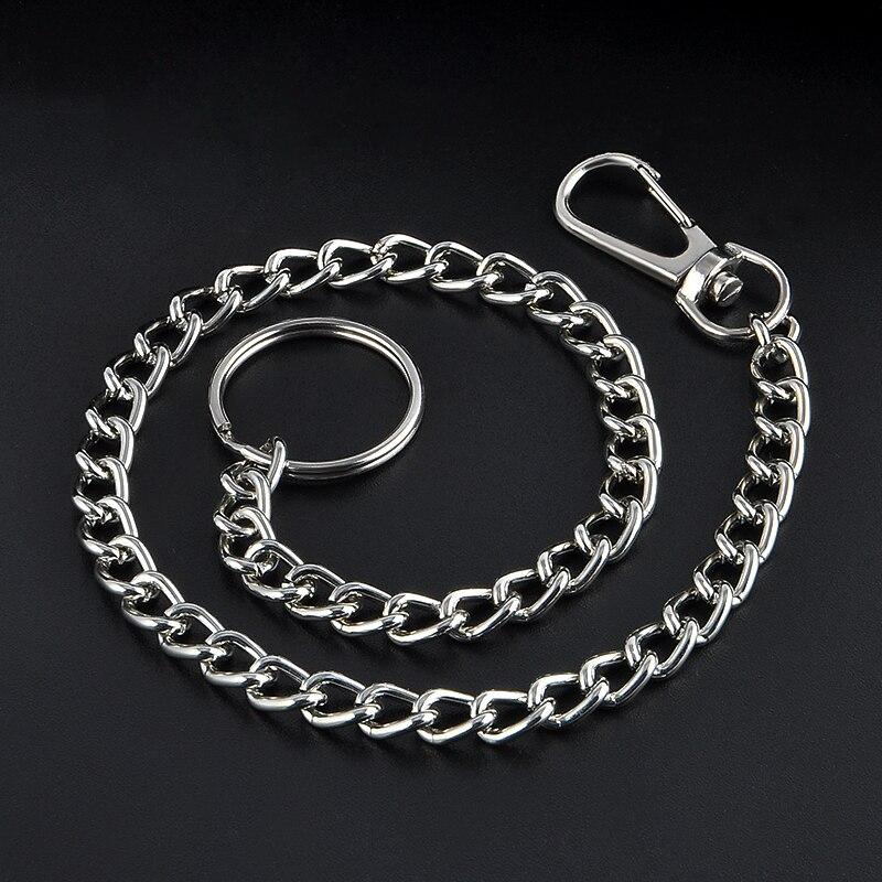 38cm Long Metal Keychain Key Wallet Belt Ring Clip Pant Jean Truck Waist Chain4H