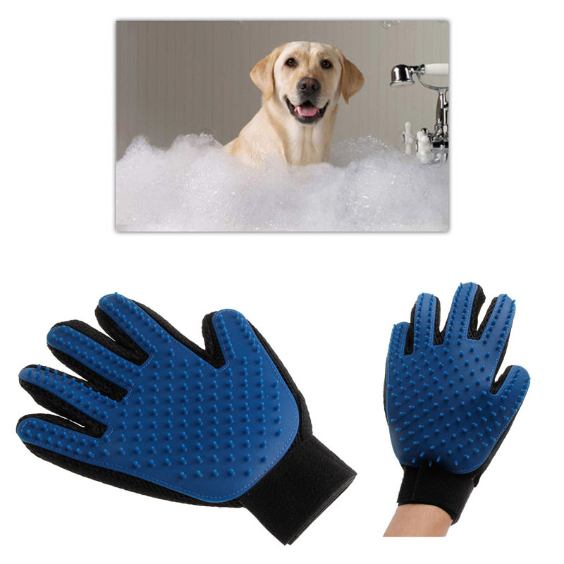 Professional High quality Pet Dog Cat Gentle Efficient Massage Grooming True Touch Deshedding Brush Glove Free shipping