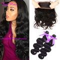 Hot Sale 360 Lace Frontal Closure With Bundles Malaysian Body Wave Pre plucked 360 frontal with Bundles Bleached Knots Baby Hair