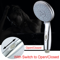 ABS Handheld Shower Head Bathroom Water Saving Shower With Switch To Open Close Chrome Plated