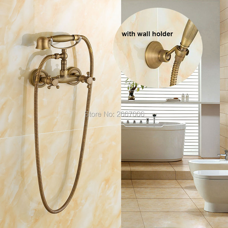 Free shipping Good Quality Telephone Style Antique Brass Shower Faucet Dual Handle Mixer Wall Mounted Bathroom Shower Set ZR011 good quality wall mounted square style brass waterfall shower set new bathroom shower with handle rainfall shower head