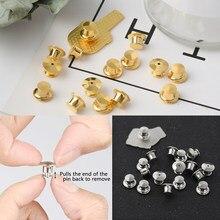 5-10 peças/pacote broche de segurança bloqueio fecho de metal pinos botão de volta fivela bulk pino keepers base broche acessórios de jóias