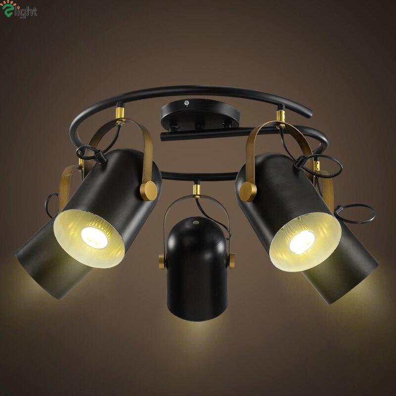 Modern Simple Rotatable Led Ceiling Light Lustre Black Metal Loft Led Ceiling Lights Ceiling Lamp Bar Dining Led Spot Lighting