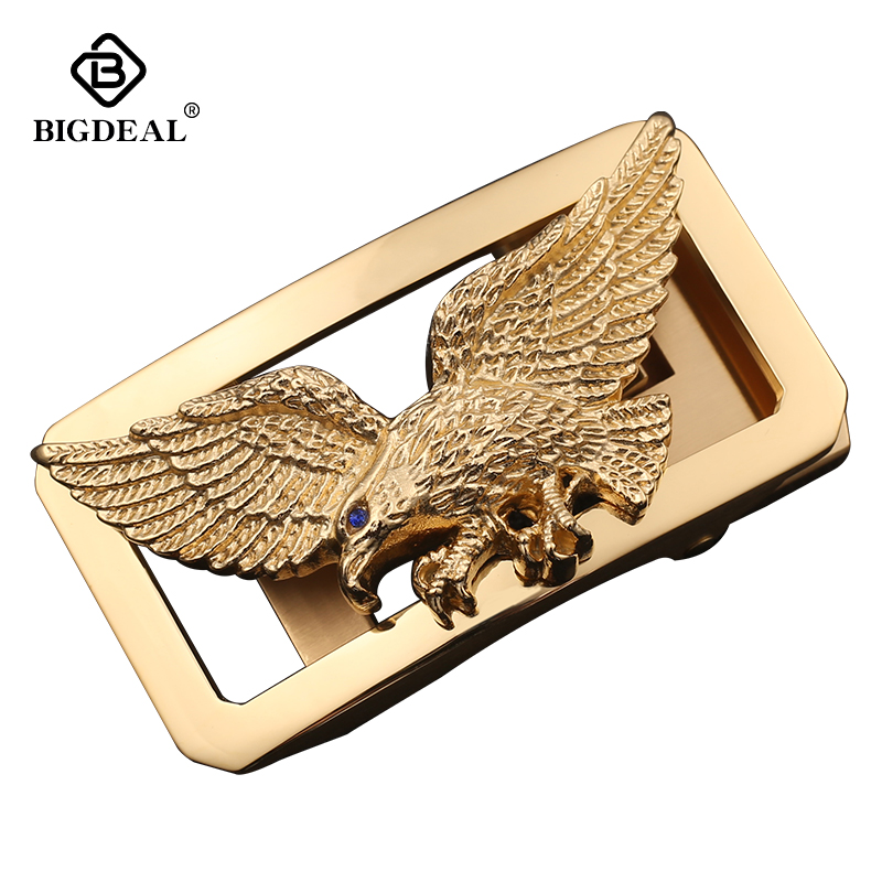 BIGDEAL Luxury Gold Eagle Stainless Steel Men's Automatic Buckle Waist Belt Accessories Designer Belts Buckle