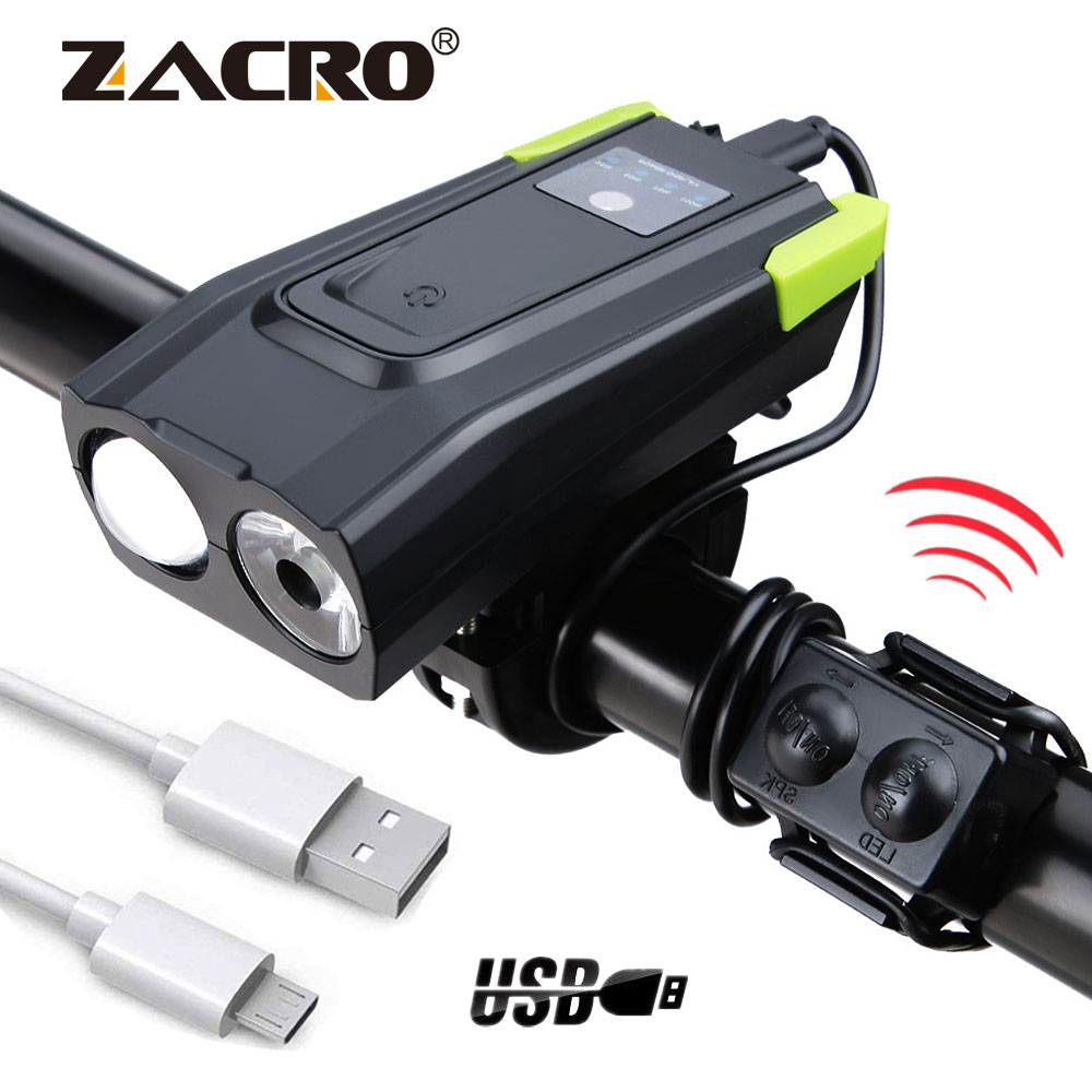 4000mAh USB Rechargeable LED Bicycle Headlight Bike Head Light Front Lamp Horn