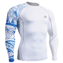 Mens Long Sleeves Top Jersey Compression Tight Skin Shirts Fitness MMA One Side Prints Base Layer