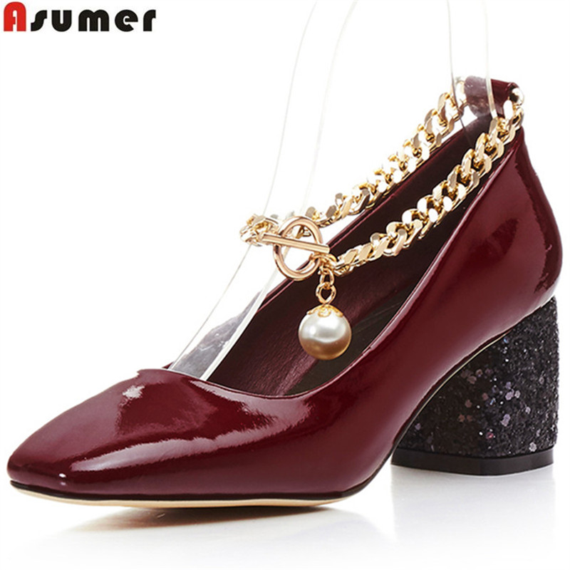 ASUMER black fashion spring autumn shoes woman square toe buckle square heel women high heels genuine leather high heels shoes asumer gold silvery fashion square toe buckle ladies single shoes spring autumn women high heels shoes big size 32 44