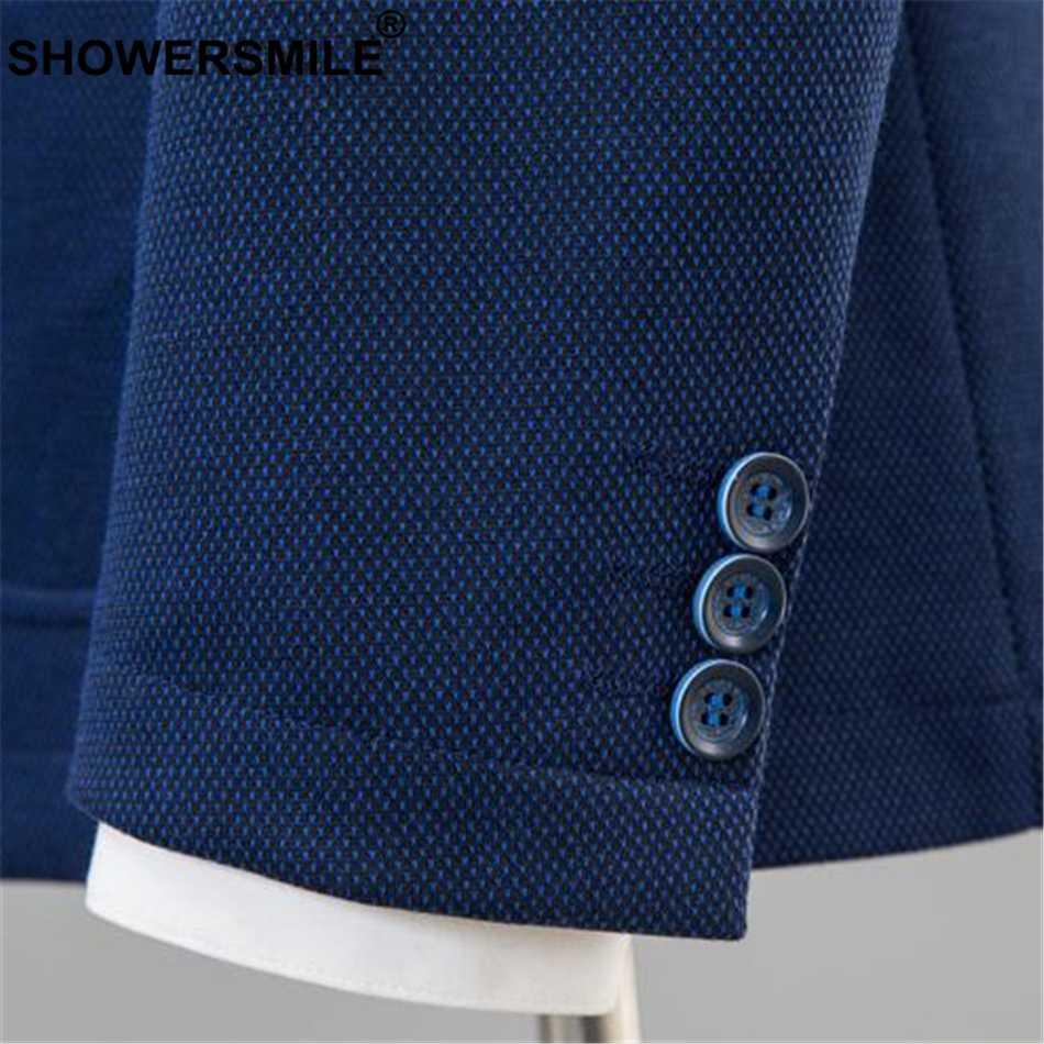 Showersmile бренд Smart повседневный мужской блейзер Slim Fit синий мужской пиджак нежные мужчины плюс размер Блейзер куртка осеннее свадебное пальто