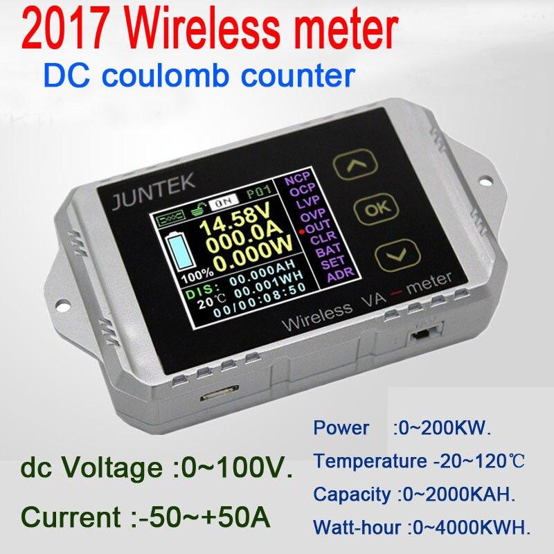 Moniteur de batterie DC 100 V 50A sans fil température ampèremètre tension KWh Watt mètre coulomètre capacité testeur de puissance voiture 12 v 24 v