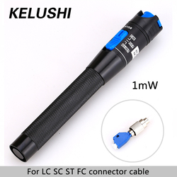 KELUSHI 1mW 3~5km FTTH Fiber Optic Visual Fault Locator red laser light source Optic Fiber Cable Tester VFL  LC/FC/SC/ST Adapter