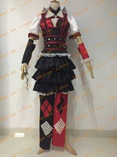 free shipping custom made Batman Arkham Harley Quinn Halloween Carnival Cosplay Costumes Outfit Party Dress For Adult Women