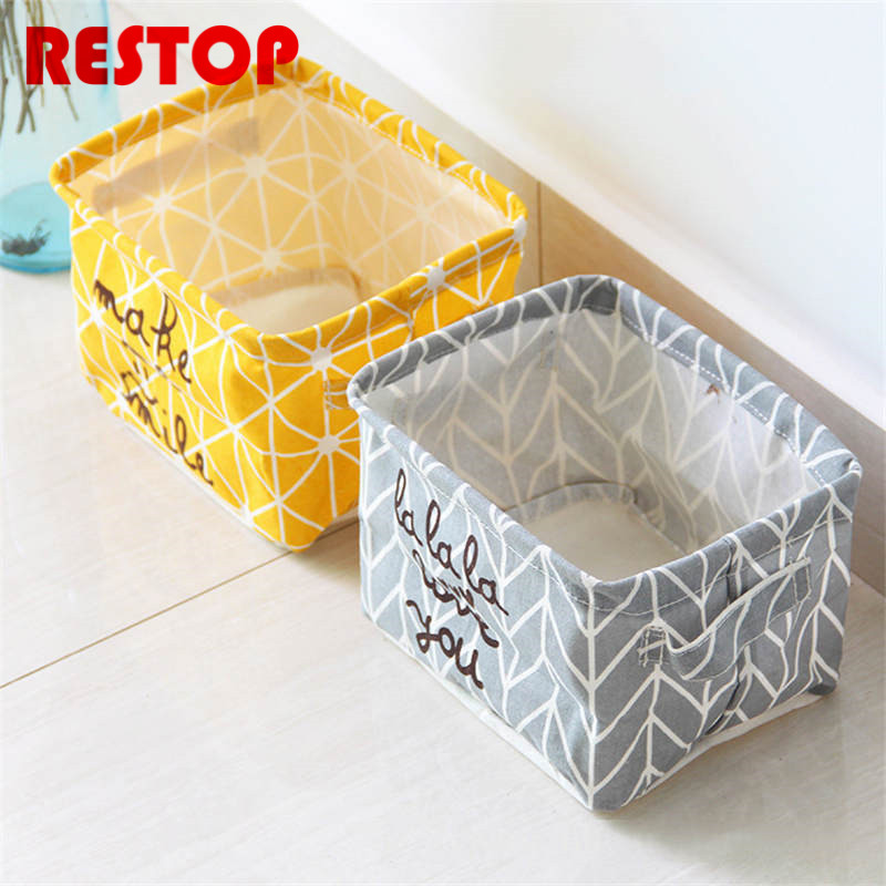 Hot Sales Nordic Style Cotton Linen Desk Storage Box Holder Jewelry Cosmetic Stationery Organizer Case RES356