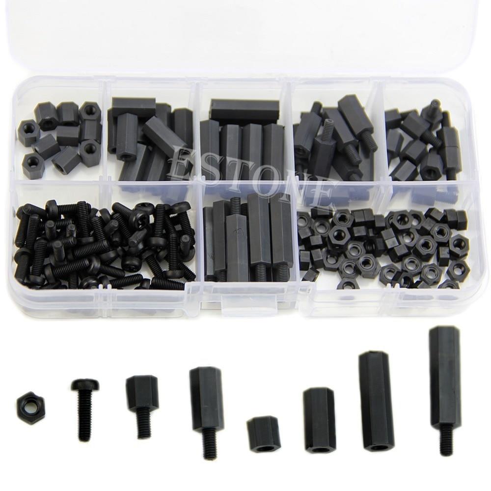 160Pcs M3 Nylon Black M-F Hex Spacers Screw Nut Assortment Kit Stand Off Set Box