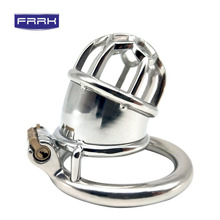 FRRK Male Chastity Devices stainless steel Cock Cage For Men Metal Belt cock ring Sex Toys Lock Bondage Adult game