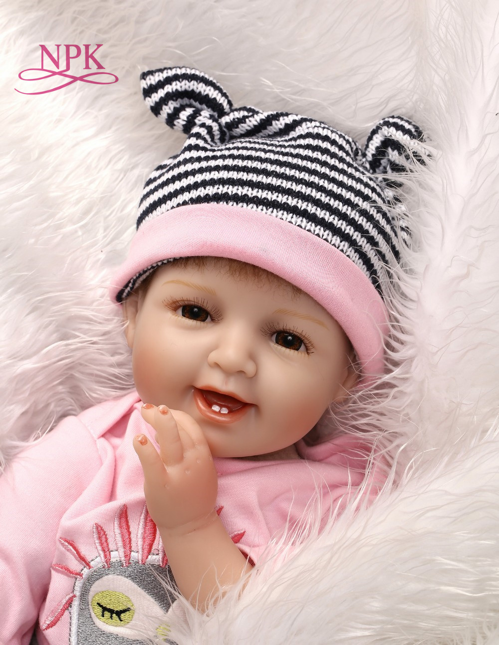 NPK Real Bebe girl doll reborn 55cm Soft Silicone Reborn Dolls kids baby toy dolls with rooted hair boneca de house plamates npk cute smile baby girl dolls real soft silicone reborn babies 55 cm with fiber hair realistic boneca reborn doll