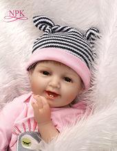 Npk real bebe menina boneca renascer 55cm silicone macio bonecas reborn crianças brinquedo do bebê bonecas com cabelo enraizado casa plamates