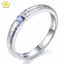 Hutang Gemstone Jewelry Genuine Tanzanite Solid 925 Sterling Silver Hammered Band Tail Wedding Rings Fine Fashion