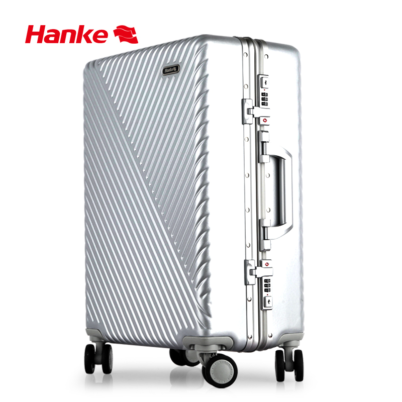 "Hanke Aluminum Frame Luggage Suitcase Luxury Travel Trolley Case PC 20"" 24"" With Mute Spinner Wheels Rolling Luggage H9811"