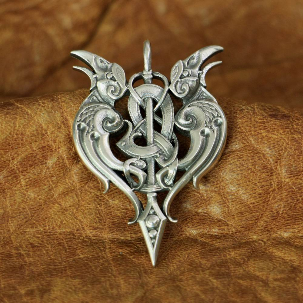 925 Sterling Silver High Details Double Crow Pendant Mens Biker Pendant TA144 JP925 Sterling Silver High Details Double Crow Pendant Mens Biker Pendant TA144 JP