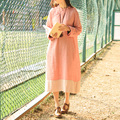 JN067 New Arrival Elegant spring and summer Chinese Style loose long vintage cotton and linen dress 2016