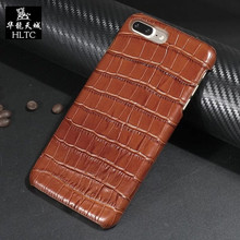 Natural Real Genuine Leather Case For Couqe iPhone 7 Plus Cell Phone Luxury Cases 3D Crocodile Skin Pattern Back Cover 7p real
