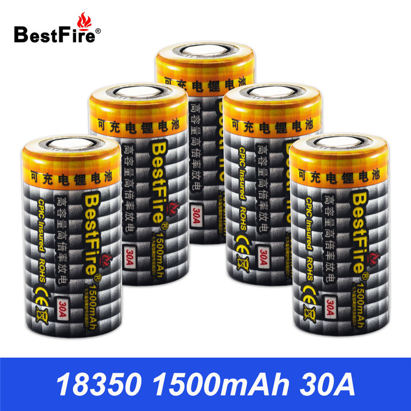18350 Battery 3.7V Lithium Rechargeable Battery 30A 1500mAh For E Pipe Flashlight Tools Toys Battery 18350 B025