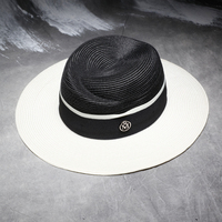 High Quality PP Material Summer Sun Hats For Women Fashion Letter M Wide Brim Sun Hat