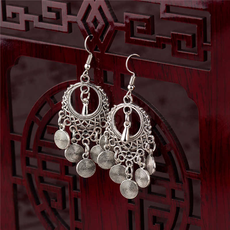 2019 Ethnic Round Alloy Tassel Hollow Drop Earrings For Women Jhumka Jhumki Vintage Ladies Dangle Earrings Oorbellen