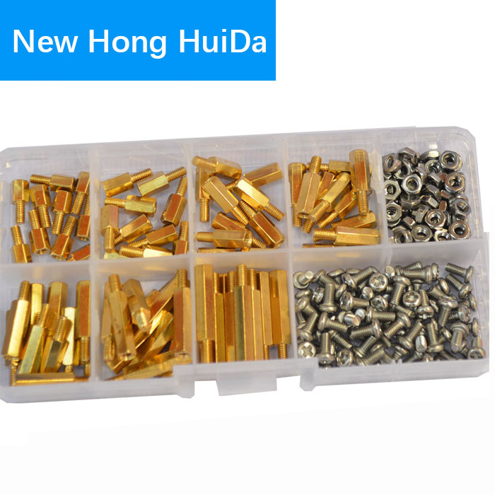 M3 Male-Male Hex Brass Standoff Bolt Screw Nut Threaded Pillar Hexagonal PCB Motherboard Spacer Assortment Kit Mounts 210Pcs 300pcs set m3bh1 m3 4 12mm male female brass hex column standoff support spacer pillar screw nut assortment for pcb board