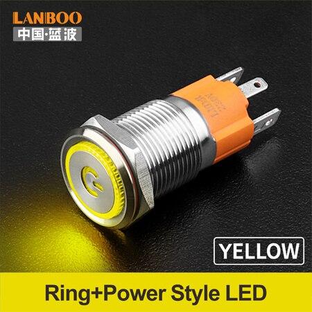 LANBOO производитель 16 мм 12V110V 24V 220V Светодиодный светильник с высоким током 10A мощный фиксатор мгновенный самоблокирующийся кнопочный переключатель - Цвет: Yellow LED Power