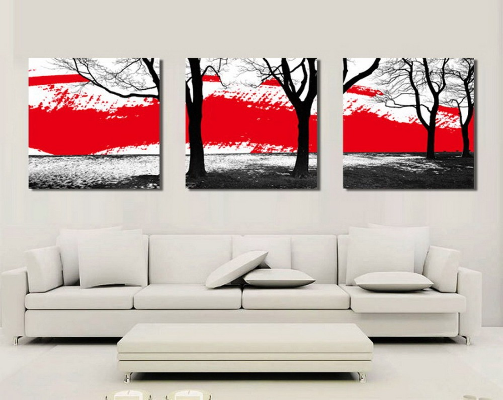 picture print cheap price art pictures 3pcs tree