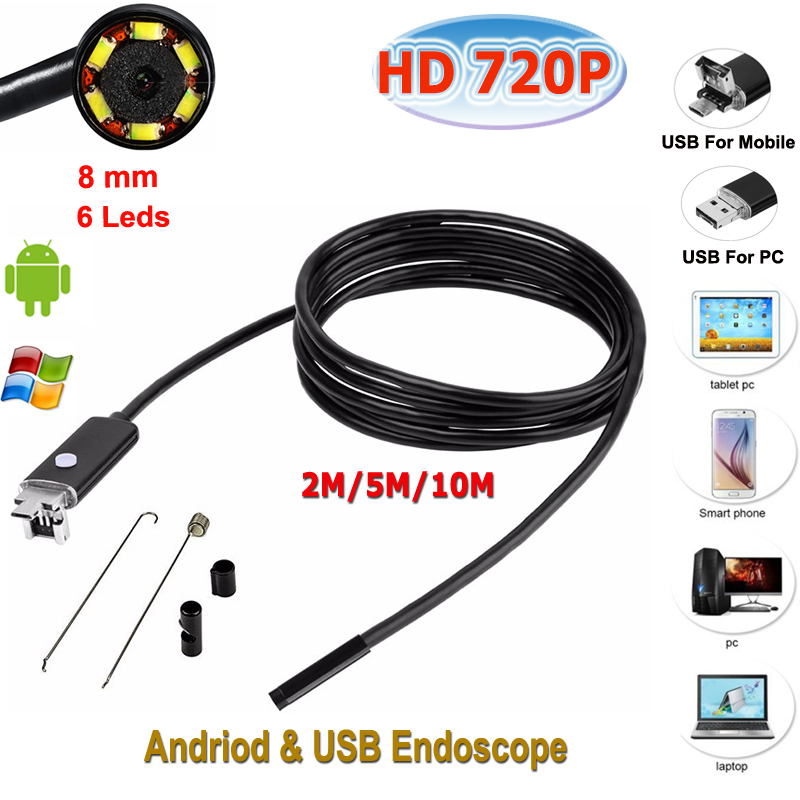 6 LED 8mm Lens Android USB Endoscope 720P android endoscope waterproof inspection borescope camera 2018 new endoscope android pc usb inspection camera 8mm 2mp 720p hd borescope video cam 6 adjustable led night vision