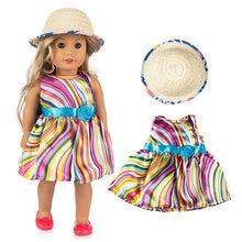 Nuevo Bebé Born18 pulgadas muñeca Niña Americana ropa estilo Pastoral Color  falda de flores sombrero de paja vestir traje para n. e6df19a026b