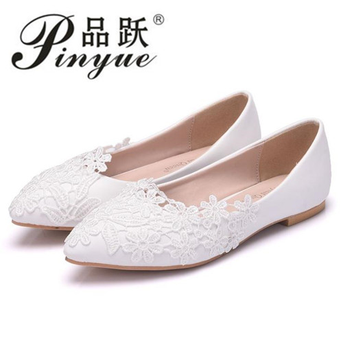 Ballet Flats White Lace Wedding Shoes Flat Heel Casual Shoes Pointed Toe Women Wedding Princess Flats Plus Size 42 fashion pointed toe women shoes solid patent pu brand shoes women flats summer style ballet princess shoes for casual crystal