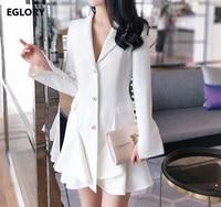 High Quality Designer Work Office Women Sexy Dress White Pearl Button Single Breasted Elegant Long Blazer Dress Career Ladies