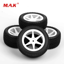 4Pcs/Set Front Rear Tyre Rubber Tires and Wheel Rims with 12mm Hex fit 1:10 Scale RC Off-Road Buggy Car Model Toys Accessories