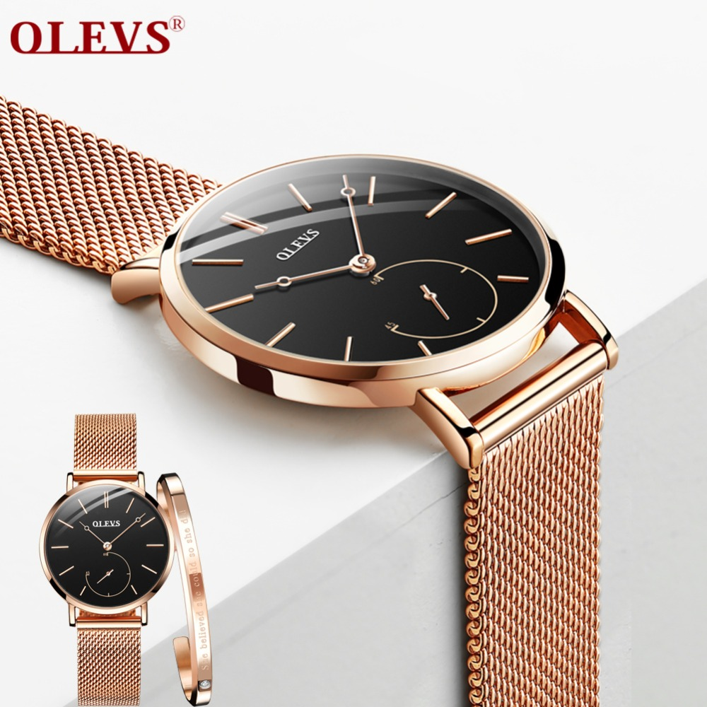 OLEVS Fashion Rosefieldd Women Watches Black Dial Quartz Wristwatch Montre Femme 2018 Lady Dress Milanese Watch Band reloj mujerOLEVS Fashion Rosefieldd Women Watches Black Dial Quartz Wristwatch Montre Femme 2018 Lady Dress Milanese Watch Band reloj mujer