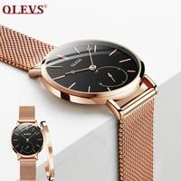 OLEVS Fashion Rosefieldd Women Watches Black Dial Quartz Wristwatch Montre Femme 2018 Lady Dress Milanese Watch Band reloj mujer