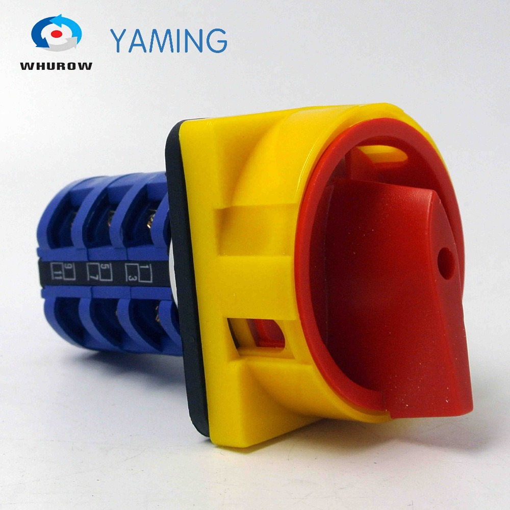 Yaming electric LW26-25/3GS changeover rotary cam switch 660V 25A 3 poles 2 position with padlock safety control motor 660v ui 10a ith 8 terminals rotary cam universal changeover combination switch