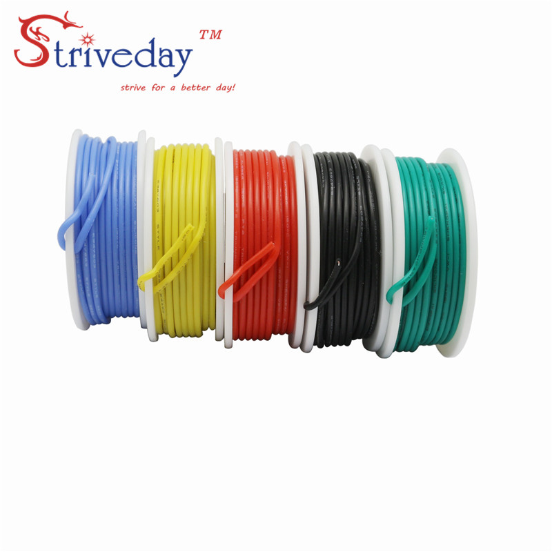20 22 24 26awg flexível silicone sólido fio eletrônico estanhado linha de cobre 5 cores mix pacote pcb cabo diy