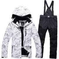 Winter professional outdoor men and women ski suit windproof waterproof mountaineering jacket + warm ski pants large size S XXXL