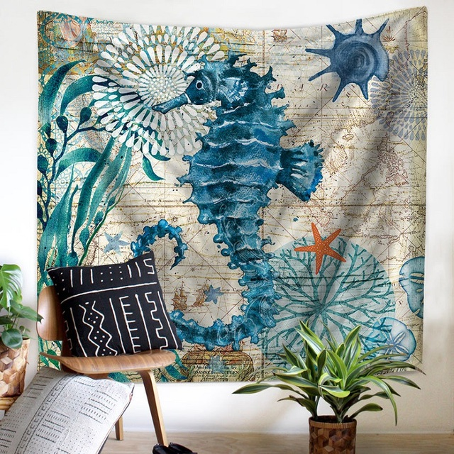 Marine Style Sea Turtle Wall Tapestry Seahorse Pattern Home Decorative Tapete Bedroom Blanket Table Cloth Yoga