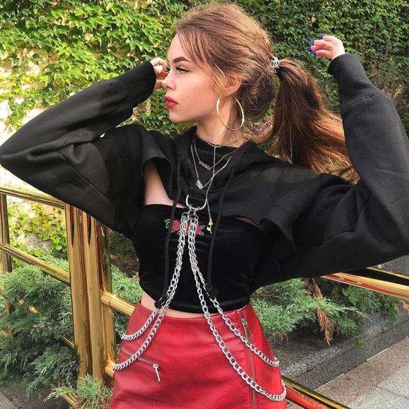 SUCHCUTE Punk manga larga Crop Top Hoodies sudaderas mujeres otoño negro cadena de Metal Hip Hop Harajuku Sudadera con capucha capa