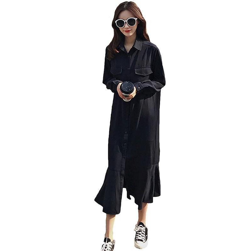 Простое весенне осеннее платье, рубашка с длинным рукавом, однобортное женское платье, женское свободное повседневное однотонное платье с ...