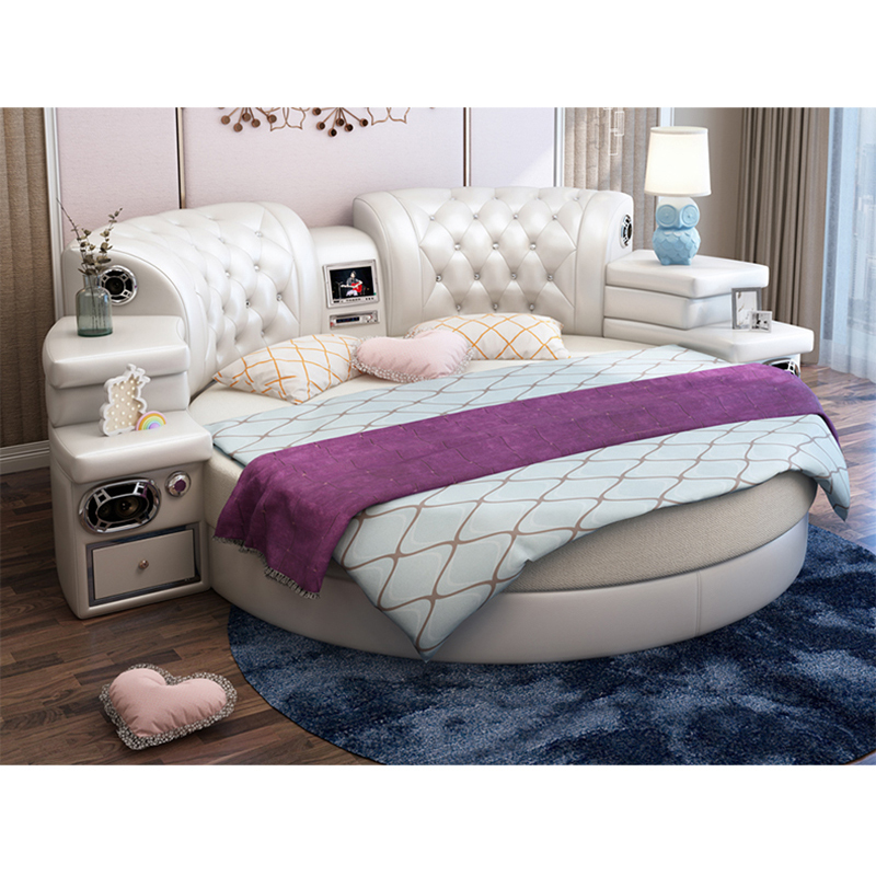 Leather Multi Function White Round Bed