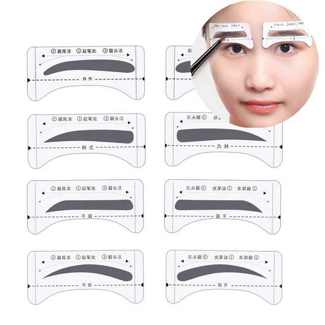 8pair Professional Eyebrow Stencils Template Stickers DIY Eyebrow Drawing Card Eyes Brow Stencil Set Women Beauty Makeup Tools 1