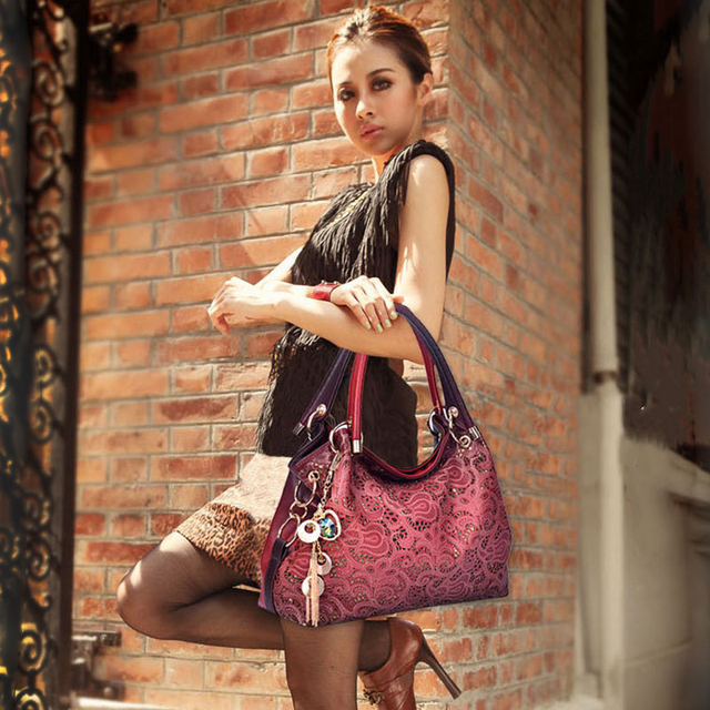Top-handle Bags for Women Hollow Out Ombre Handbag Floral Print Shoulder Bag 10