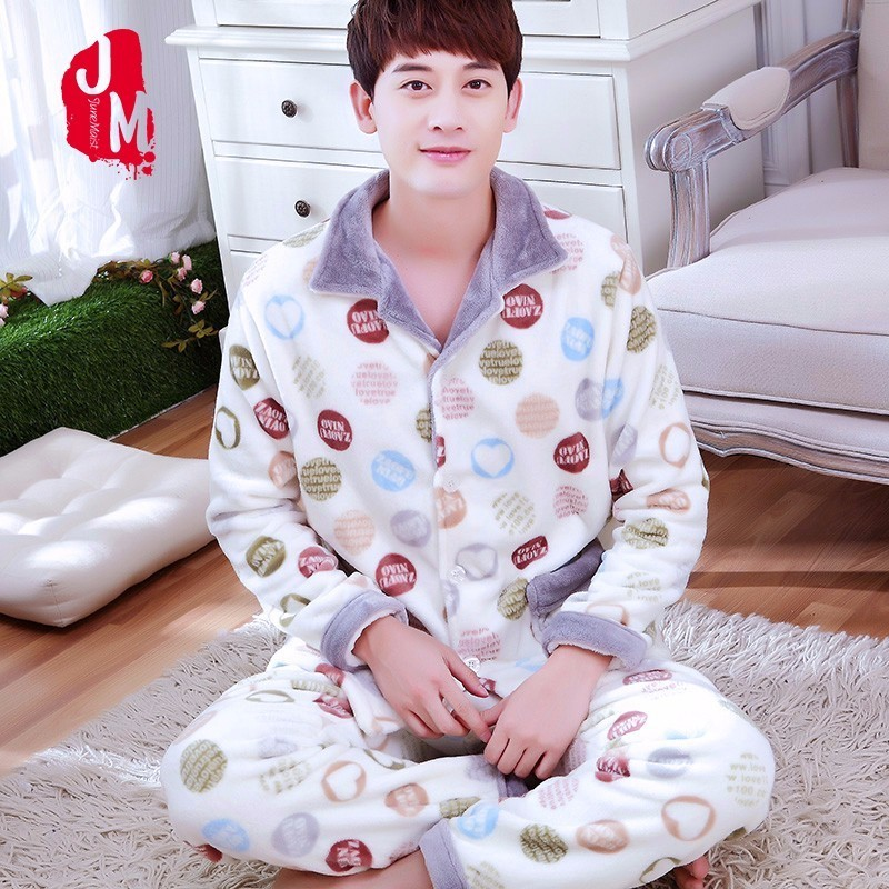 Men Sleepwear Pajama-Sets Fleece Flannel Coral Male Winter Thick Solid Autumn XXXL Full