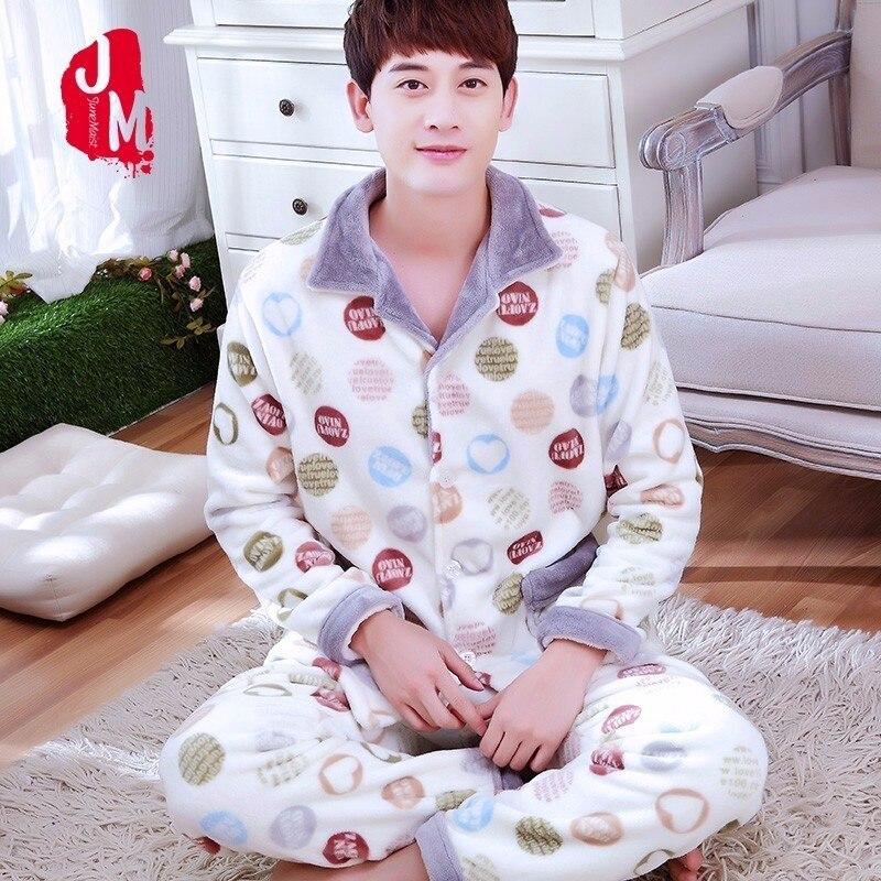 Sleep Winter Coral Fleece Men   Pajama     Sets   Thick Full Sleeve Autumn Men Sleepwear Suits Solid Pijama Man Flannel Pyjama Male XXXL