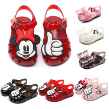 Girls Sandals Mini Shoes New Summer Princess Style Soft Jelly Shoes Girls Anti-skid Beach Sandals Children's Flat-soled Sandals(China)